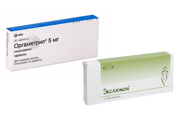 Препараты прогестерона Оргаметрил и Экслютон