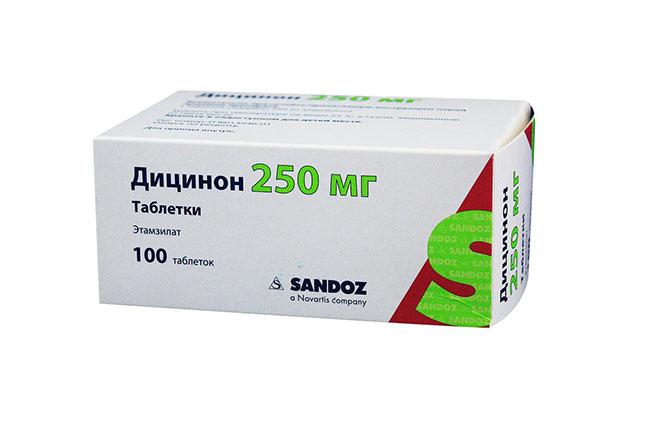 Кровоостанавливающие таблетки Дицинон, применяемые при обильных менструациях